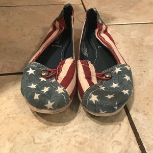 American flag Mad Love flats. Gently used